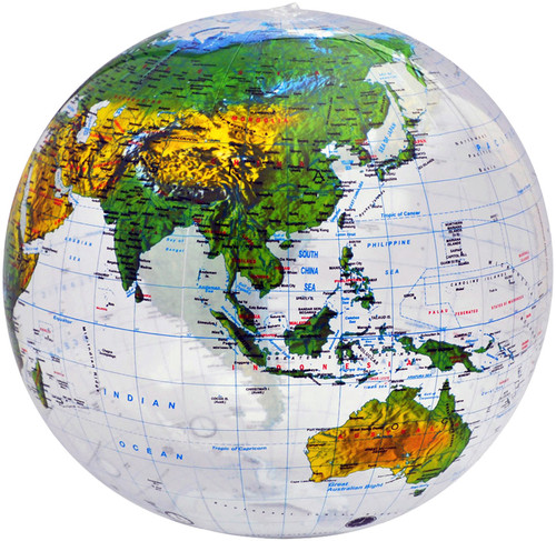 "16"" Clear Ocean Topographical Inflatable Globe"