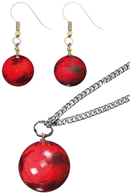 Glass Mars Globe Pendant and Earrings