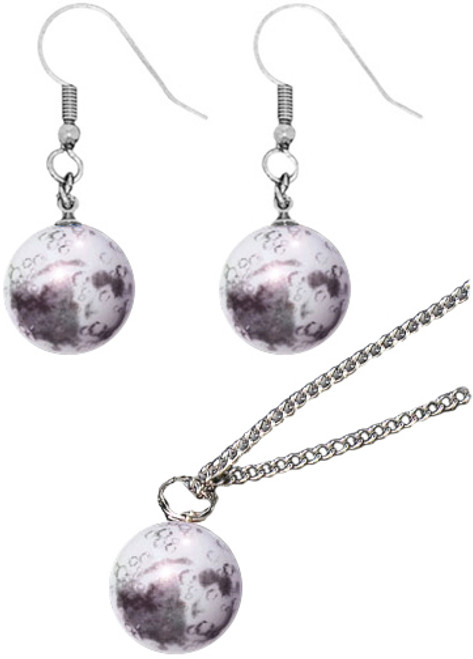Glass Moon Pendant and Earrings