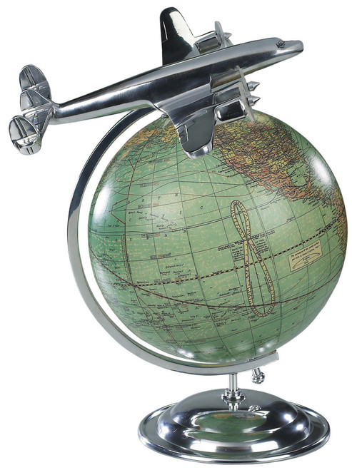 Vintage Globe with Airplane
