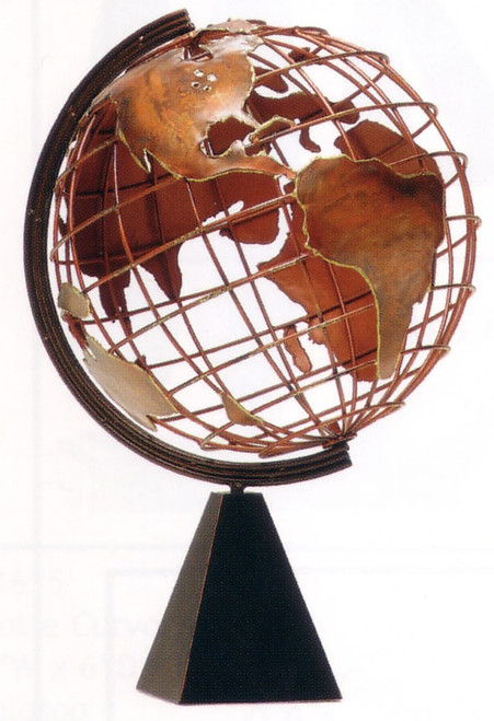 Copper World Globe Sculpture