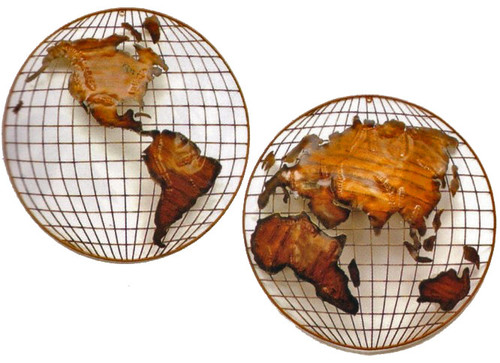 Copper Wall Sculpture - Hemispheres - World Map