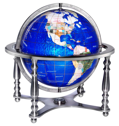 Gemstone Globe - Lapis Ocean Tabletop Globe with 4 Legged Stand