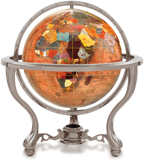 Amberlite Gemstone Globe on Silver Tripod