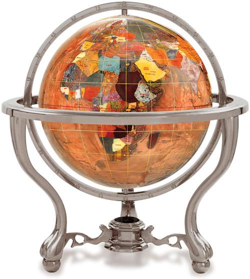 Amberlite Gemstone Globe on Silver Tripod