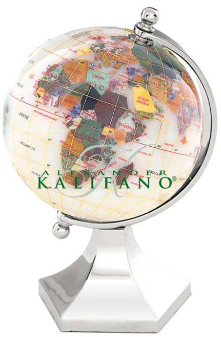 "3"" Opal Gemstone Globe with Silver Contempo Stand"