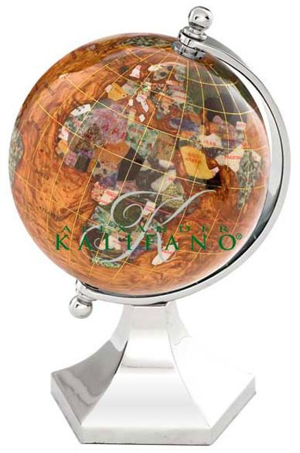 """4"""" Amberlite Opalite Gemstone Globe w/ Silver Contempo Stand"""