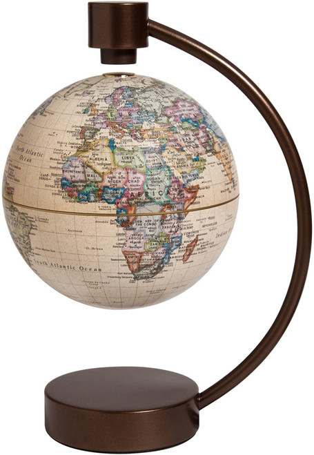 "6"" Antique Ocean Political Levitating Globe"