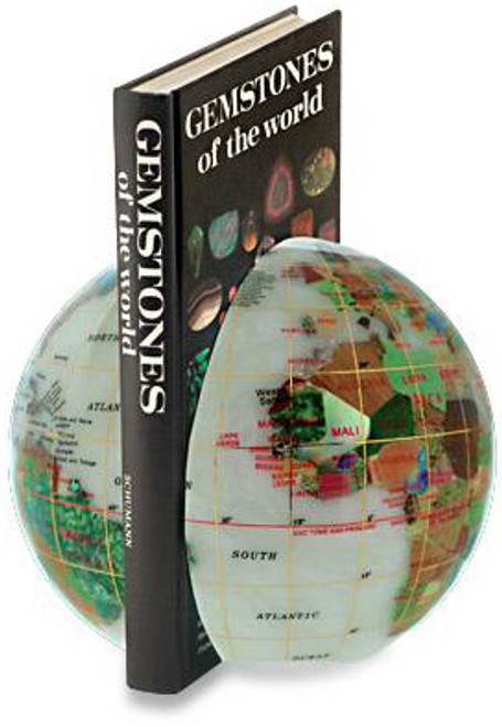 "6"" Opal Gemstone Globe Bookends"