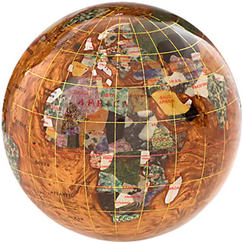 Copper Amber Gemstone Globe Paperweight