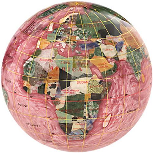 Rubalite Gemstone Globe Paperweight
