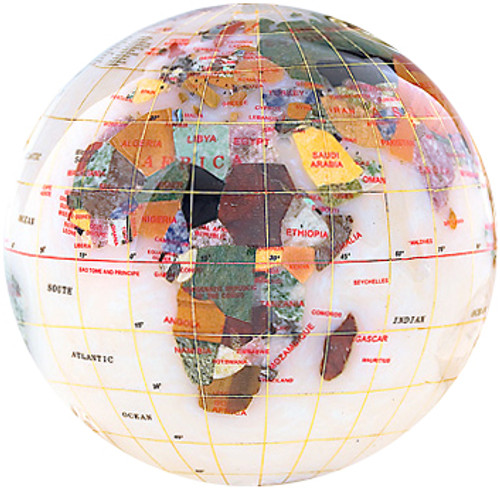 Opal Gemstone Globe Paperweight