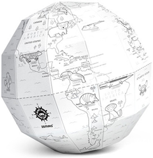 World of Animals Coloring Polygon Folding Globe
