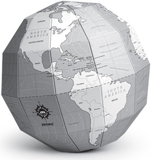 Gray Coloring Polygon Folding Globe