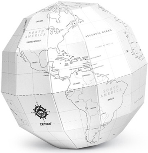 White Coloring Polygon Folding Globe