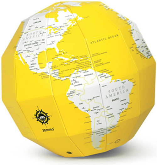 Yellow Dry Erase Polygon Folding Globe
