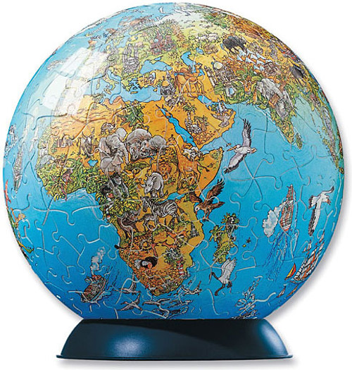 Illustrated World Map Puzzle Globe