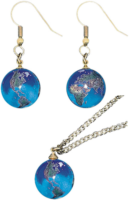 World Globe Pendant and Earrings