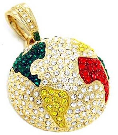 Gold Rhinestone Globe Pendant