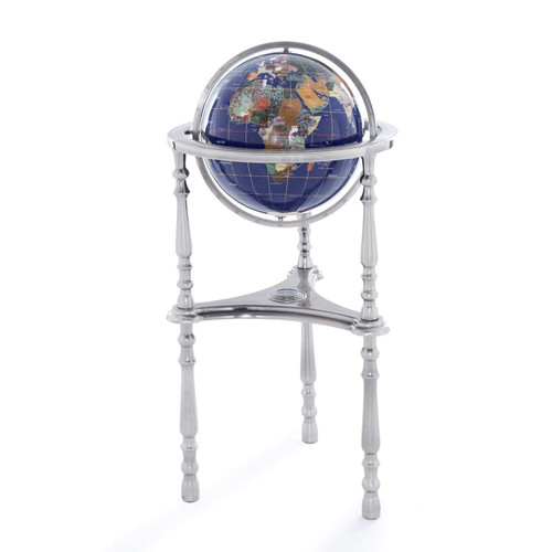 Blue Lapis Gemstone Globe with Silver Floor Stand