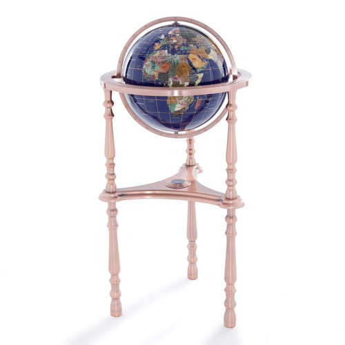 Copy of Blue Lapis Gemstone Globe with Copper Floor Stand