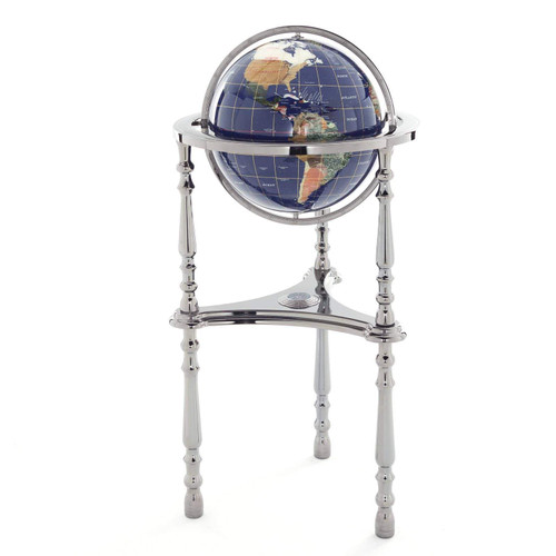 Blue Lapis Gemstone Globe with Gunmetal Floor Stand