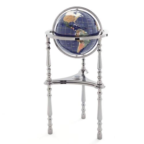 Blue Lapis Gemstone Globe with Gunmetal Floor Stand