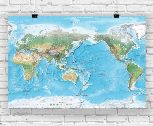 Natural World Physical Wall Map - Pacific Centered at 150° E