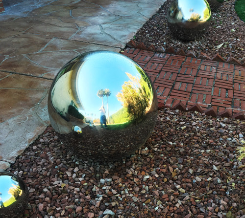 14 inch stainless steel gazing ball garden decor