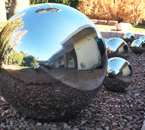 Large hollow stainless steel sphere with mirror polish 25 inch diameter