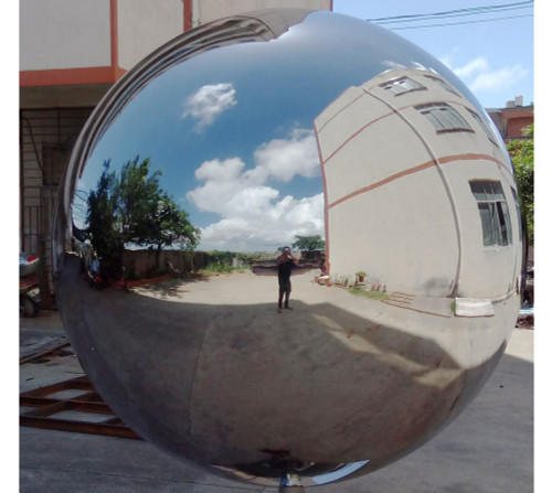 Giant hollow stainless steel sphere with mirror polish 30 inch diameter