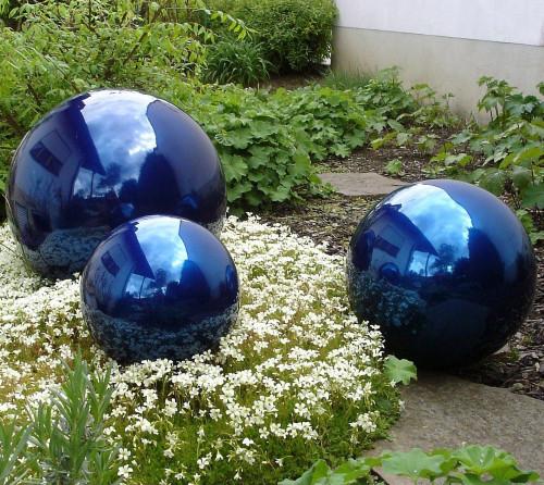 Blue Stainless Steel Gazing Balls - Mirror Finish Stainless Steel Spheres