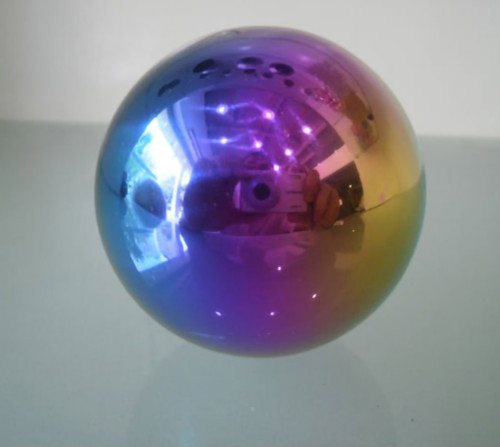 16 inch multi-color rainbow finish stainless steel gazing ball