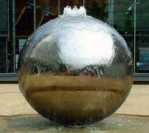 Large Stainless Steel Sphere Water Feature Fountain