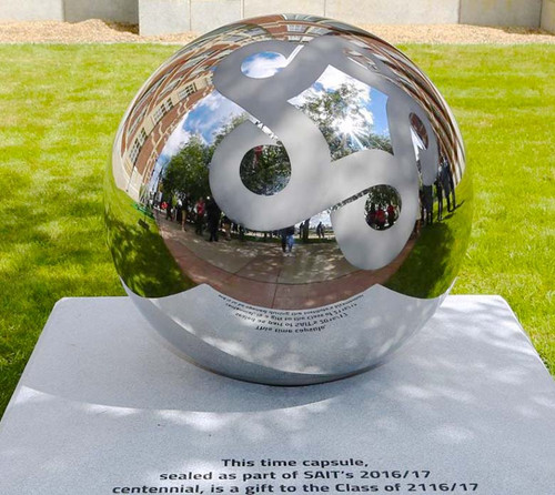 Mirror Polished Stainless Steel Sphere w/ Sand Etched Logo