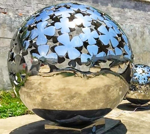 Mirror Polished Stainless Steel Sphere w/ Laser Cut Design