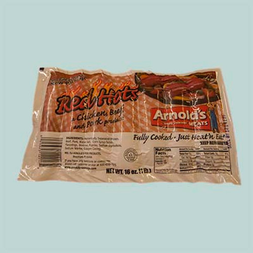 Arnold's Red Hots Chicken, Beef, and Pork Sausage 1lb