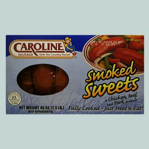 Caroline Smoked Sweet Sausage Chicken , Beef, Pork 2.5 Lbs