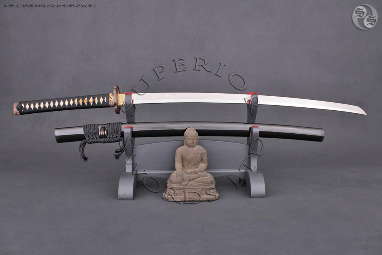 Japanese Handmade Folded Clay Tempered Dragon Ryuu Tanto Dagger Sword Silk Bag