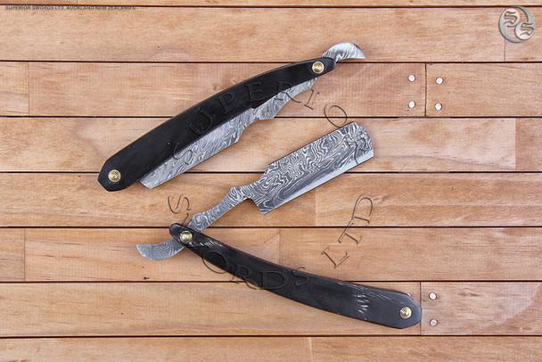 straight, razor, cut, throat, straight-razor, cut-throat, damascus, handforged, handmade, straightrazor, cutthroat, shaving, buffalo, bull, horn, 1920, 1930