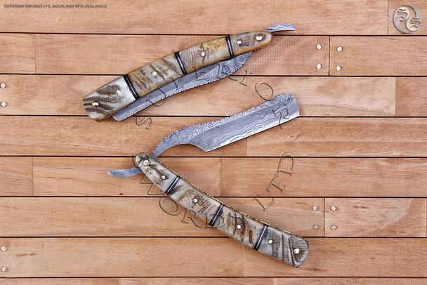 straight, razor, cut, throat, straight-razor, cut-throat, damascus, handforged, handmade, straightrazor, cutthroat, shaving, rams, horn, 1920, 1930