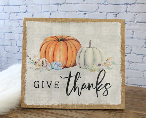 Give Thanks Burlap 13x15 Wall Art