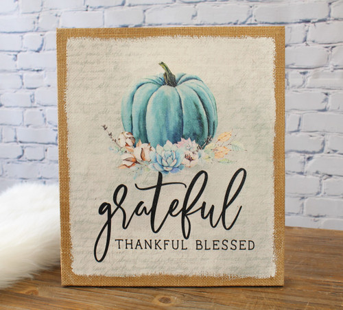 Grateful Pumpkin Burlap 13x15 Wall Art