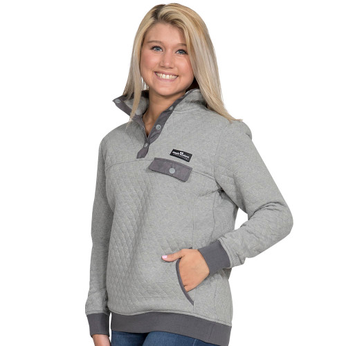 Simply Southern Quilted Pullover - Heather Grey