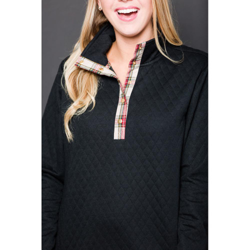 Lana Pullover - Black with Camel Plaid