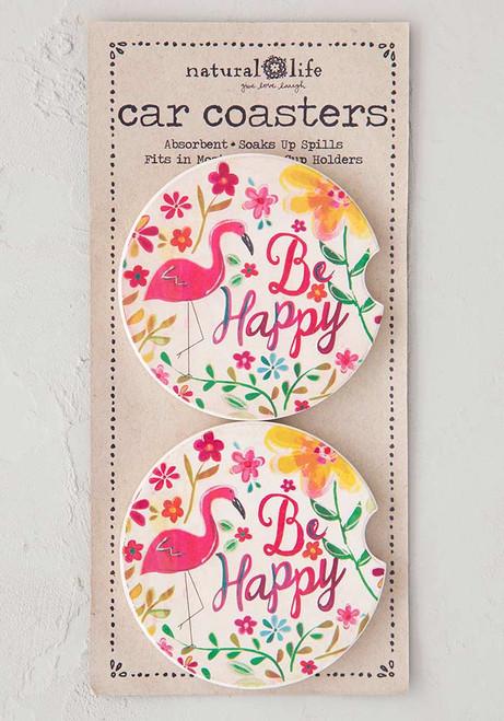 Car Coaster Set - Be Happy Flamingo