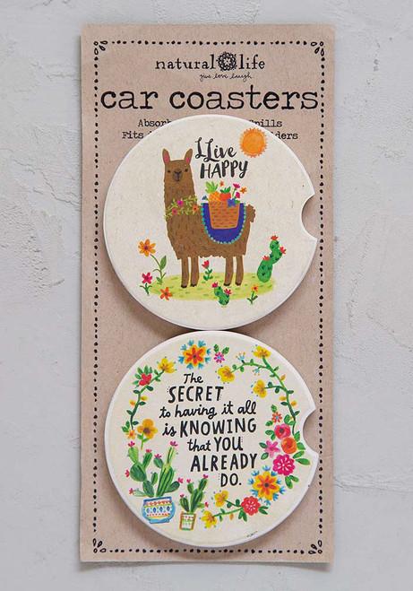 Car Coaster Set - Llama & Cactus