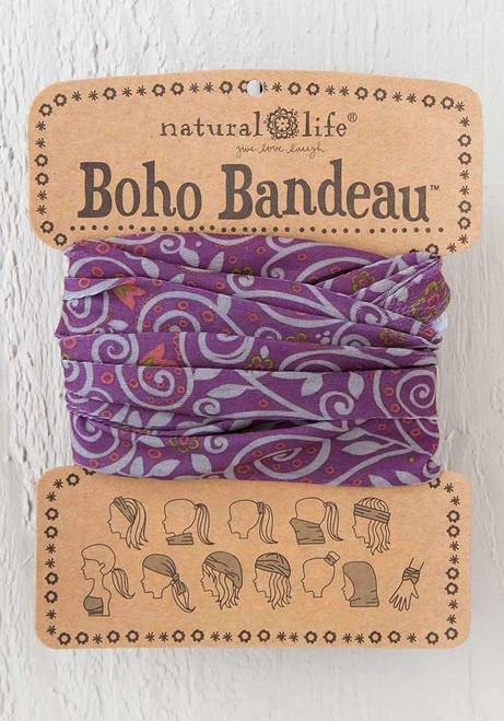 Boho Bandeau Headband - Purple Scrolls