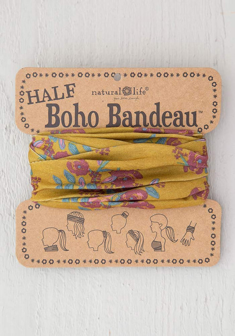 Half Bandeau Headband - Gold Plum Blooms