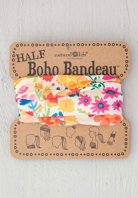 Half Bandeau Headband - Cream Wildflowers